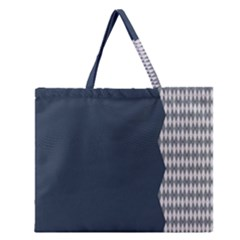 Argyle Triangle Plaid Blue Grey Zipper Large Tote Bag by Alisyart