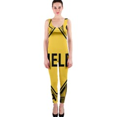 Caution Road Sign Help Cross Yellow Onepiece Catsuit by Alisyart