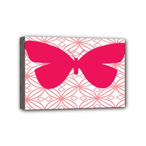 Butterfly Animals Pink Plaid Triangle Circle Flower Mini Canvas 6  X 4  by Alisyart