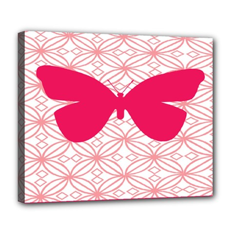 Butterfly Animals Pink Plaid Triangle Circle Flower Deluxe Canvas 24  X 20   by Alisyart