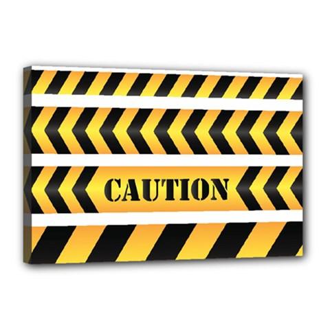 Caution Road Sign Warning Cross Danger Yellow Chevron Line Black Canvas 18  X 12  by Alisyart