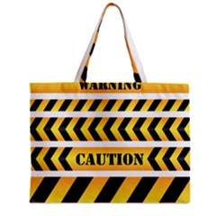 Caution Road Sign Warning Cross Danger Yellow Chevron Line Black Zipper Mini Tote Bag by Alisyart