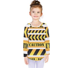 Caution Road Sign Warning Cross Danger Yellow Chevron Line Black Kids  Long Sleeve Tee by Alisyart