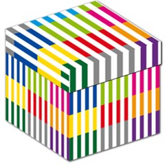 Color Bars Rainbow Green Blue Grey Red Pink Orange Yellow White Line Vertical Storage Stool 12   by Alisyart