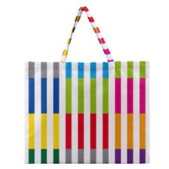 Color Bars Rainbow Green Blue Grey Red Pink Orange Yellow White Line Vertical Zipper Large Tote Bag by Alisyart