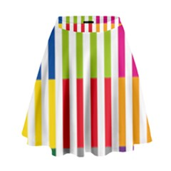 Color Bars Rainbow Green Blue Grey Red Pink Orange Yellow White Line Vertical High Waist Skirt by Alisyart