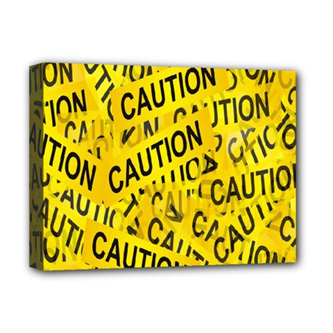 Caution Road Sign Cross Yellow Deluxe Canvas 16  X 12   by Alisyart