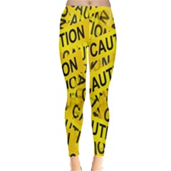 Caution Road Sign Cross Yellow Leggings  by Alisyart