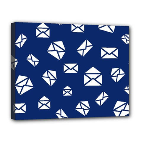 Envelope Letter Sand Blue White Masage Canvas 14  X 11  by Alisyart