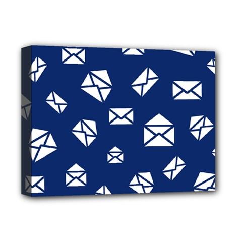Envelope Letter Sand Blue White Masage Deluxe Canvas 16  X 12   by Alisyart