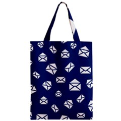 Envelope Letter Sand Blue White Masage Zipper Classic Tote Bag by Alisyart