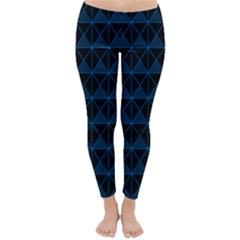 Colored Line Light Triangle Plaid Blue Black Classic Winter Leggings by Alisyart