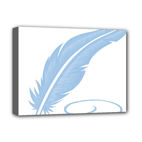Feather Pen Blue Light Deluxe Canvas 16  X 12   by Alisyart