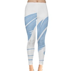 Feather Pen Blue Light Leggings  by Alisyart