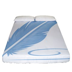 Feather Pen Blue Light Fitted Sheet (queen Size) by Alisyart