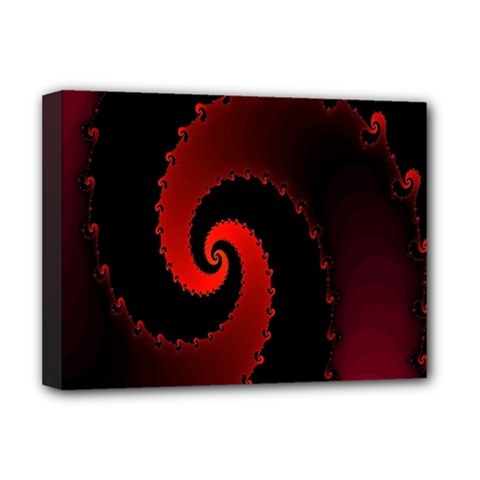 Red Fractal Spiral Deluxe Canvas 16  X 12   by Simbadda