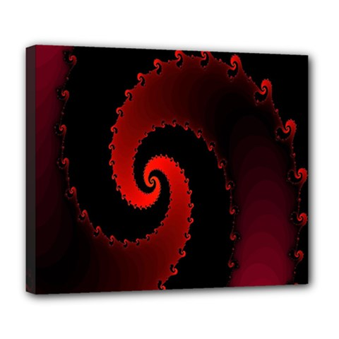 Red Fractal Spiral Deluxe Canvas 24  X 20   by Simbadda