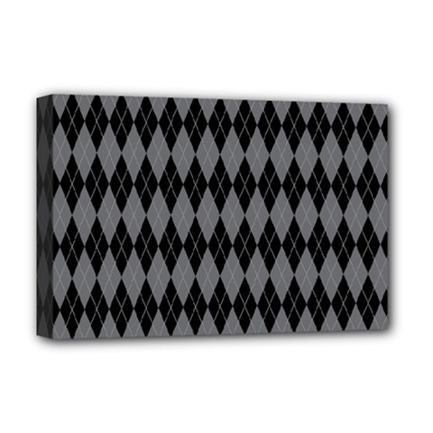 Chevron Wave Line Grey Black Triangle Deluxe Canvas 18  X 12   by Alisyart