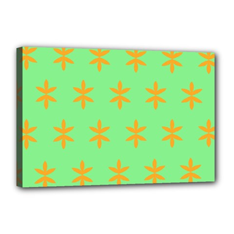 Flower Floral Different Colours Green Orange Canvas 18  X 12  by Alisyart