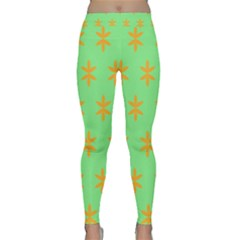 Flower Floral Different Colours Green Orange Classic Yoga Leggings by Alisyart