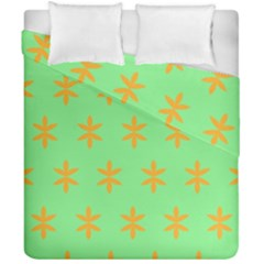 Flower Floral Different Colours Green Orange Duvet Cover Double Side (california King Size) by Alisyart