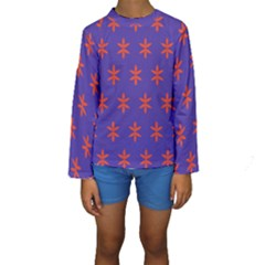 Flower Floral Different Colours Purple Orange Kids  Long Sleeve Swimwear by Alisyart