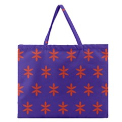 Flower Floral Different Colours Purple Orange Zipper Large Tote Bag by Alisyart