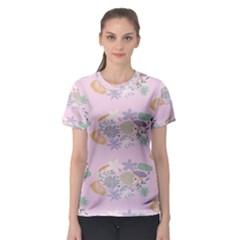 Floral Flower Rose Sunflower Star Leaf Pink Green Blue Women s Sport Mesh Tee by Alisyart
