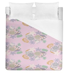 Floral Flower Rose Sunflower Star Leaf Pink Green Blue Duvet Cover (queen Size) by Alisyart