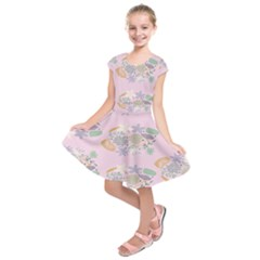 Floral Flower Rose Sunflower Star Leaf Pink Green Blue Kids  Short Sleeve Dress