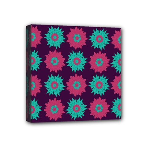 Flower Floral Rose Sunflower Purple Blue Mini Canvas 4  X 4  by Alisyart