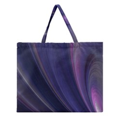 Purple Fractal Zipper Large Tote Bag by Simbadda