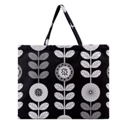 Floral Pattern Seamless Background Zipper Large Tote Bag by Simbadda