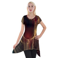 Fractal Image Short Sleeve Side Drop Tunic by Simbadda