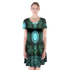 Grand Julian Fractal Short Sleeve V Neck Flare Dress