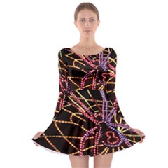 Black Widow Spider, Yellow Web Long Sleeve Skater Dress