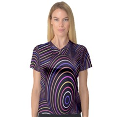 Abstract Colorful Spheres Women s V Neck Sport Mesh Tee