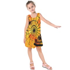 Halloween Weird  Surreal Atmosphere Kids  Sleeveless Dress by Simbadda