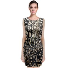 Wallpaper Texture Pattern Design Ornate Abstract Sleeveless Velvet Midi Dress by Simbadda