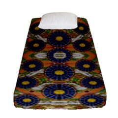 Fleur Flower Porcelaine In Calm Fitted Sheet (single Size) by pepitasart