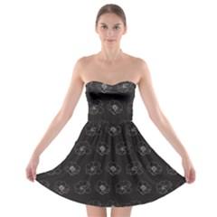 Floral Pattern Strapless Bra Top Dress by Valentinaart