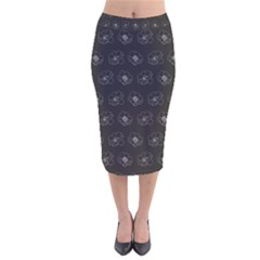 Floral Pattern Velvet Midi Pencil Skirt by Valentinaart