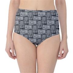 Gray Pattern High Waist Bikini Bottoms by Valentinaart