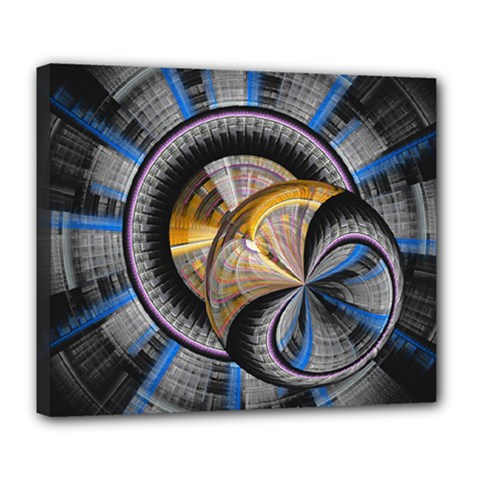 Fractal Tech Disc Background Deluxe Canvas 24  X 20   by Simbadda