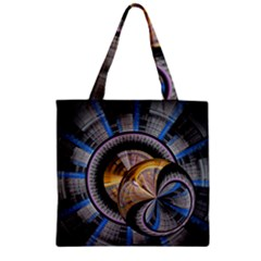 Fractal Tech Disc Background Zipper Grocery Tote Bag by Simbadda