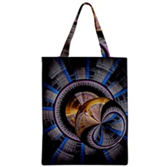 Fractal Tech Disc Background Zipper Classic Tote Bag by Simbadda