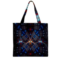 Fancy Fractal Pattern Zipper Grocery Tote Bag