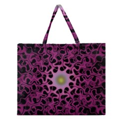 Cool Fractal Zipper Large Tote Bag by Simbadda