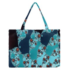 Decorative Fractal Background Medium Zipper Tote Bag by Simbadda