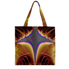Symmetric Fractal Zipper Grocery Tote Bag by Simbadda